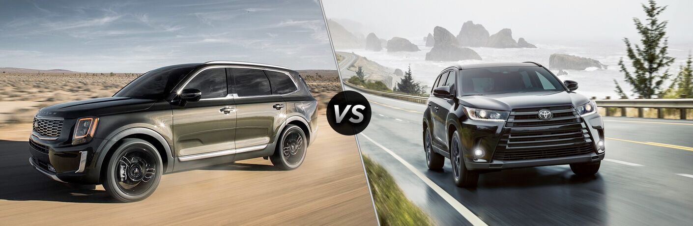 A side-by-side comparison of the 2020 Kia Telluride vs. 2019 Toyota Highlander.