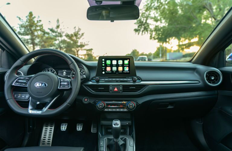 A photo of the front dashboard used by the 2020 Kia Forte.