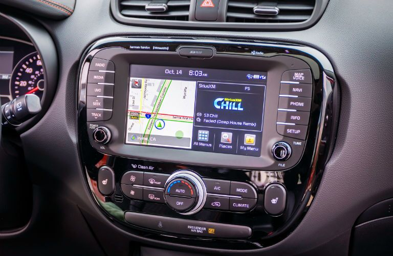 A photo of the touchscreen interface in the 2019 Kia Soul.