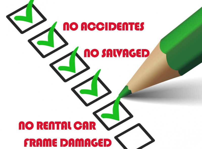 No accidents no salvaged no rental car no frame damage check boxes