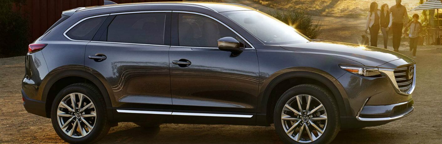 side view of a silver 2018 Mazda CX-9