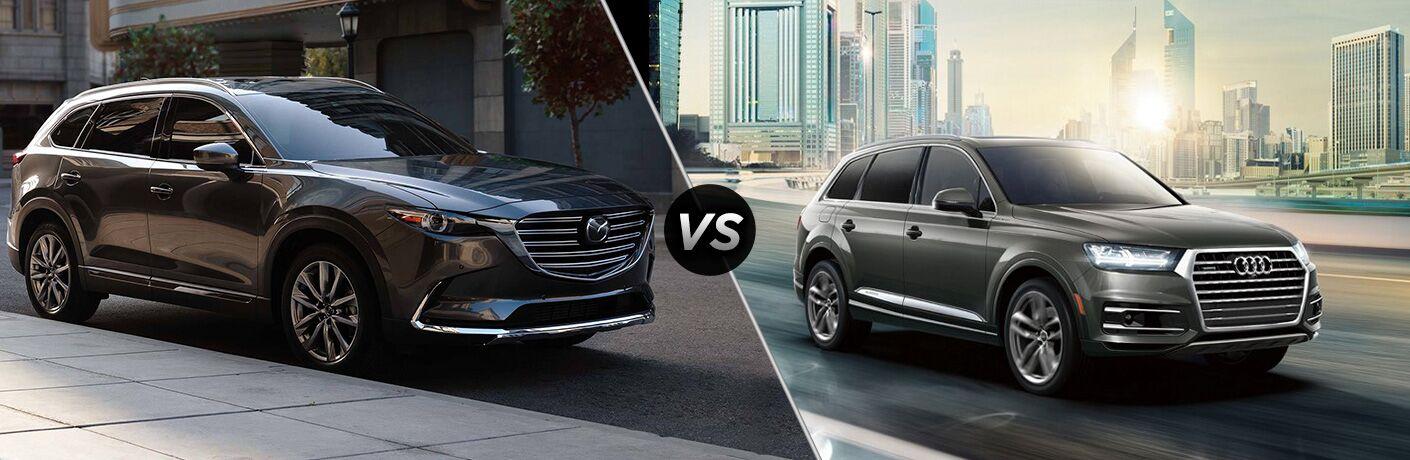 Black 2019 Mazda CX-9 and grey 2019 Audi Q7