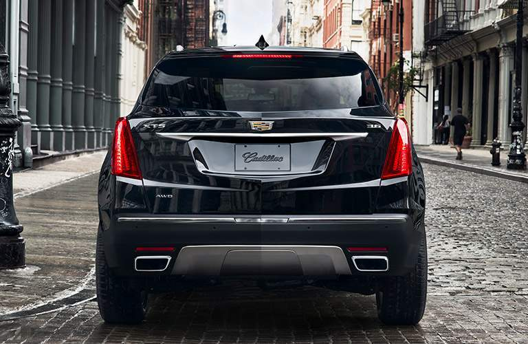 rear view of black 2018 Cadillac XT5