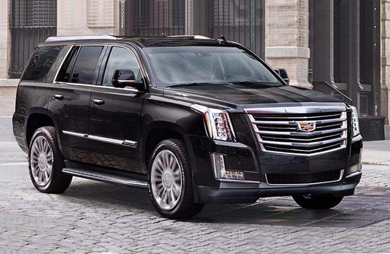 side view of black 2018 Cadillac Escalade