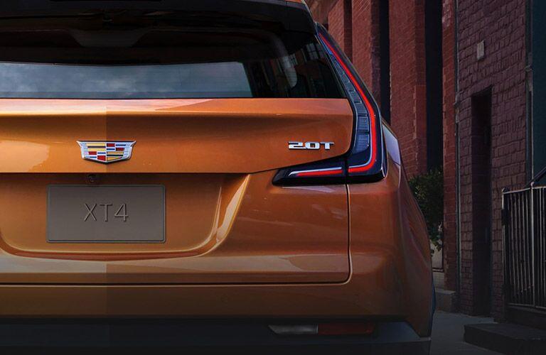 2019 Cadillac XT4 exterior rear shot closeup of taillights, back bumper, and badging