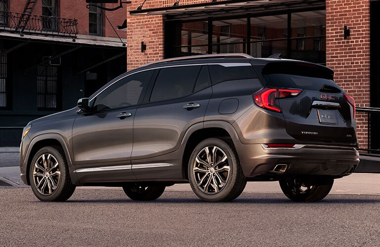 2019 GMC Terrain exterior rear shot with dark gray paint color