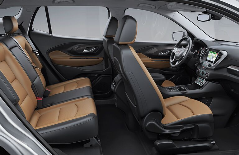 2019 GMC Terrain interior side shot of cabin space and seating upholstery