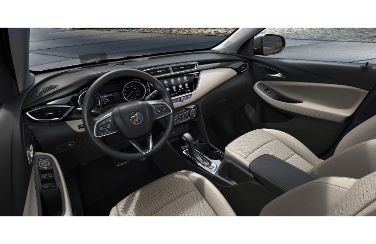 2020 Buick Encore GX interior shot of front seating, steering wheel, and dashboard layout