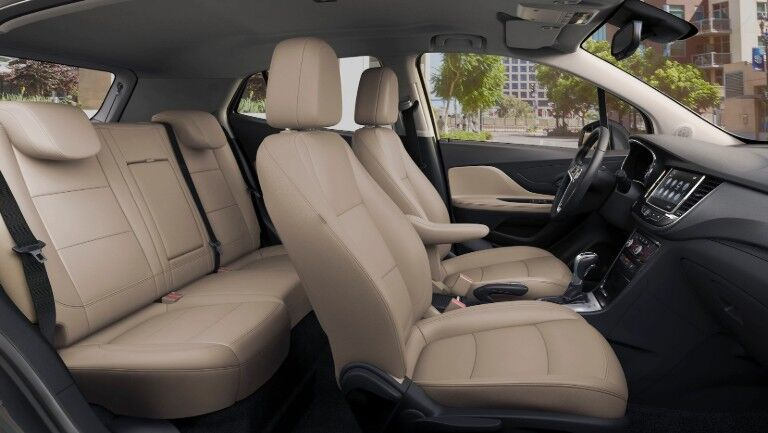 2020 Buick Encore interior side shot of seating rows with leather-appointed upholstery
