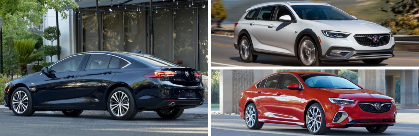2020 Buick Regal Sportback in black, 2020 Buick Regal TourX in white, and 2020 Buick Regal GS in red