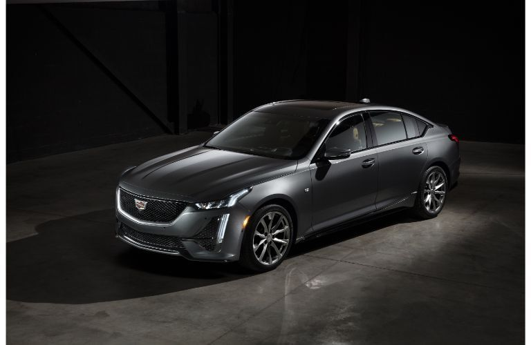 2020 Cadillac CT5 Sport exterior overhead shot with gray silver paint color while parked in a fancy garage