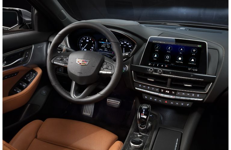 2020 Cadillac CT5 Sport interior shot of driver's seat, steering wheel, transmission, driver's display, and infotainment screen