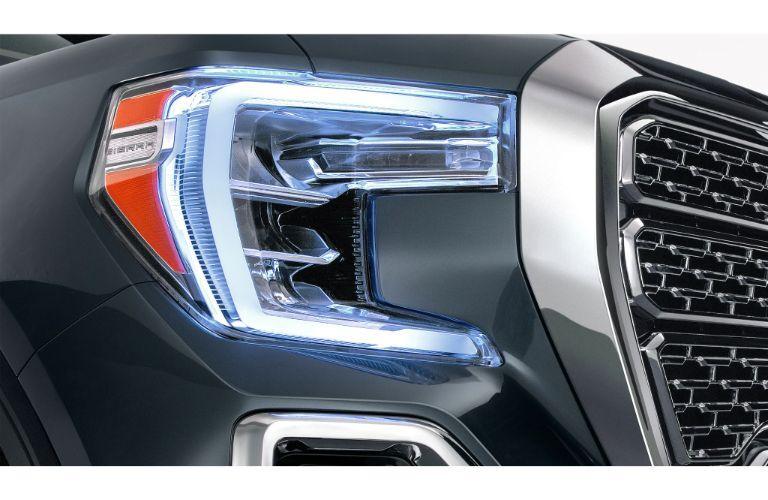 2020 GMC Sierra 1500 Denali exterior closeup of LED headlight design