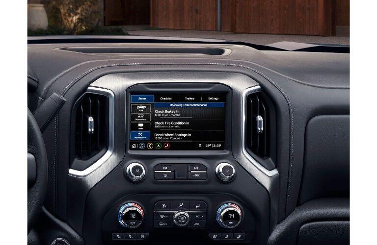 2020 GMC Sierra 2500HD Denali interior close up shot of infotainment touchscreen display