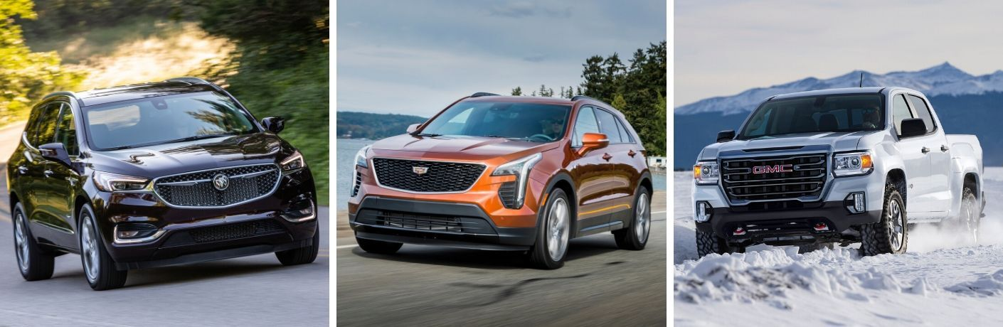Buick Enclave Avenir, Cadillac XT4, and GMC Canyon AT4 collage
