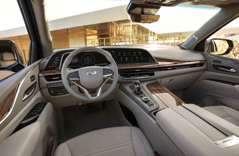 A photo of the dashboard used in the 2021 Cadillac Escalade ESV.