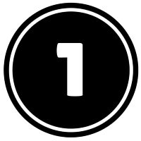 Number 1 button icon in black and white