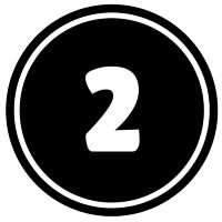 Number 2 button icon in black and white