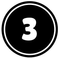 Number 3 button icon in black and white