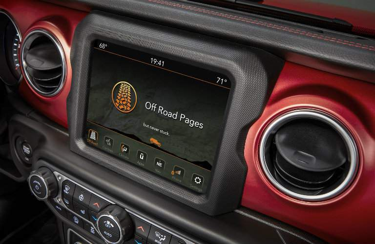 close up of touchsreen display in 2018 Jeep Wrangler