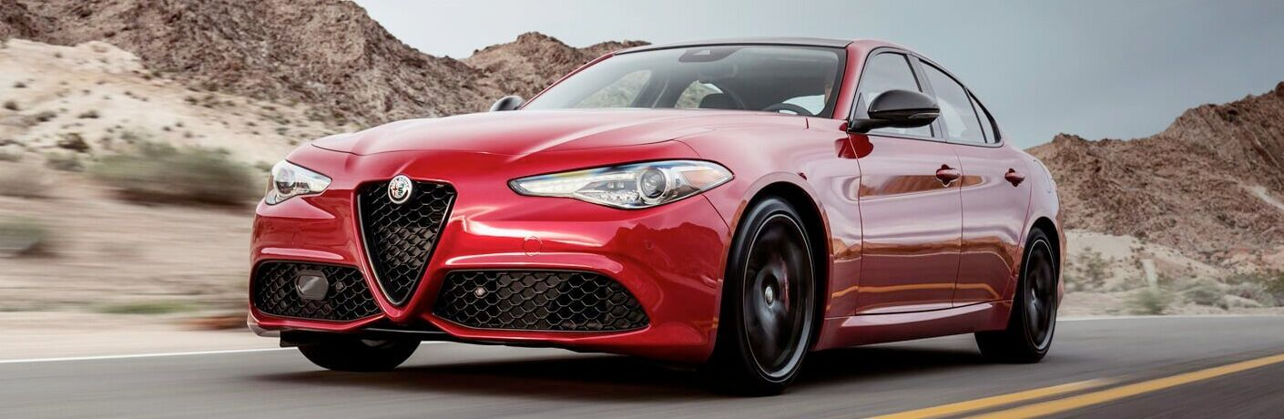 front and side view of red 2019 alfa romeo giulia