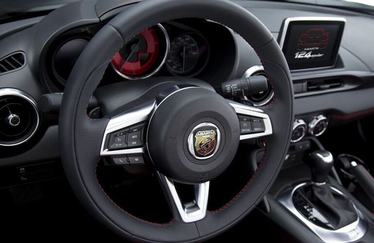 steering wheel and dashboard of 2019 fiat 124 spider