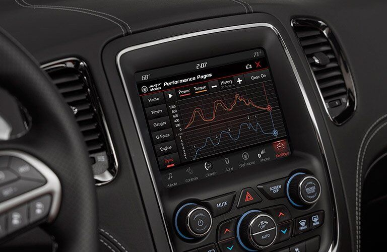 close up of 2018 Dodge Durango SRT performance pages on touchscreen display