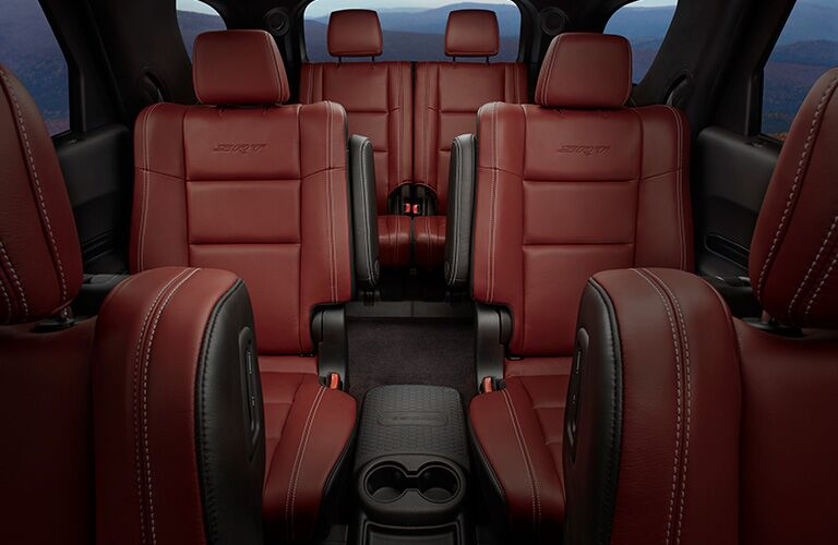 2019 Dodge Durango interior shot of 3-row seating with red leather upholstery