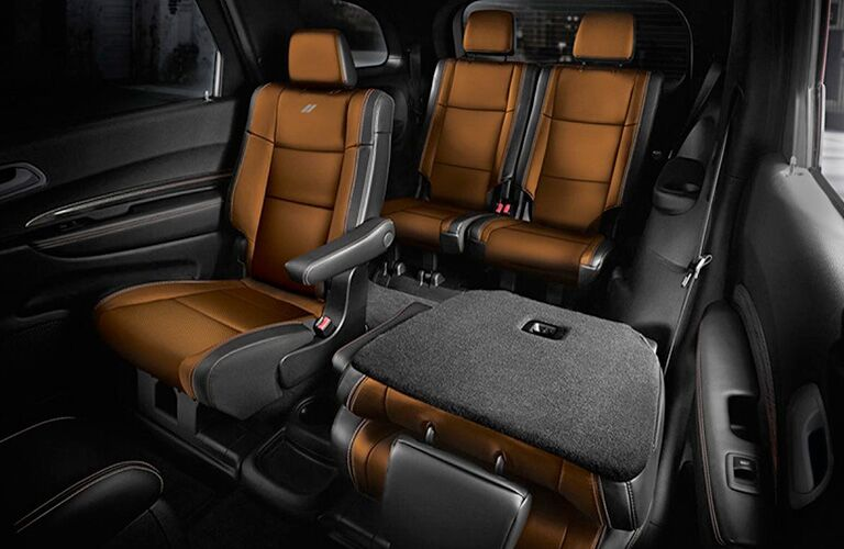 2019 Dodge Durango interior shot of seating upholstery and adjustable space