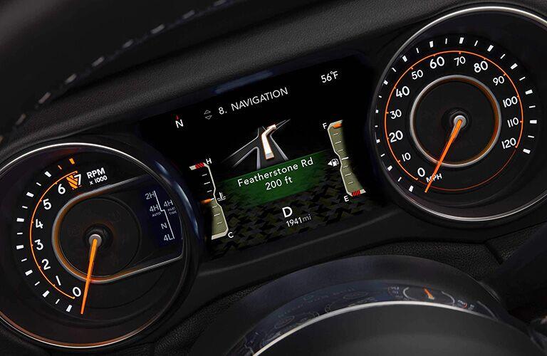 Navigation screen inside 2019 Jeep Wrangler
