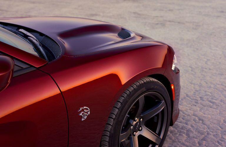 close up of SRT badging on 2019 Dodge Charger