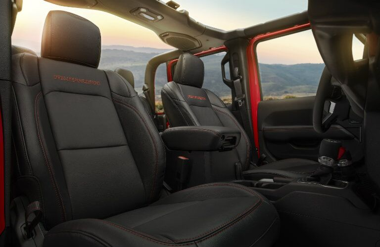 2020 Jeep Gladiator interior shot of front seating upholstery and removed top