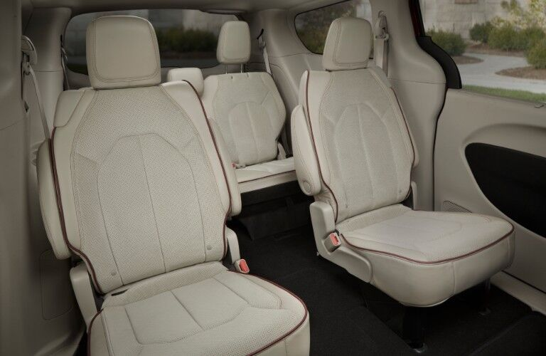 Second and third row of seats inside 2020 Chrysler Pacifica