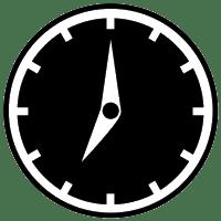 Black and white clock logo