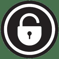 Black and white lock logo