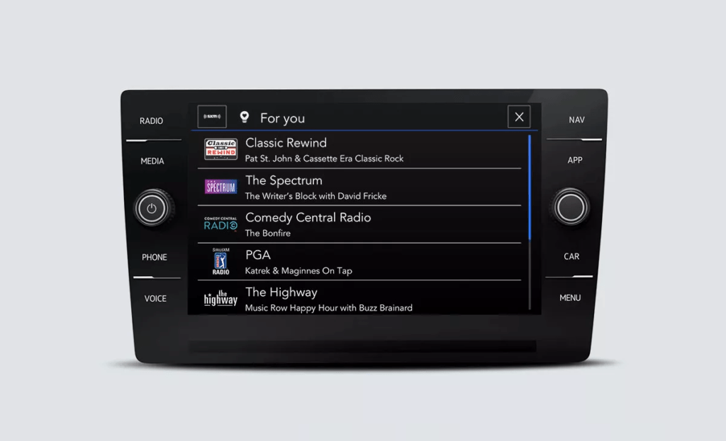 SiriusXM with 360L touchscreen interface showing channel options labeled For You