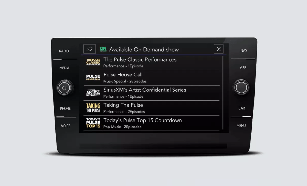 SiriusXM with 360L touchscreen interface showing Available On Demand shows.