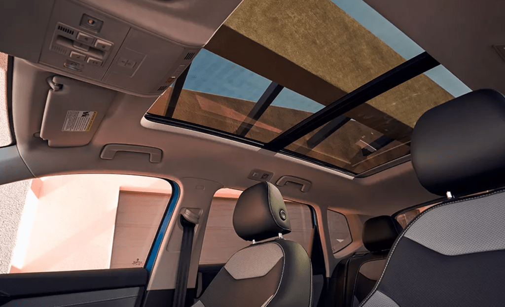 Interior shot of a VW shows the front seat.