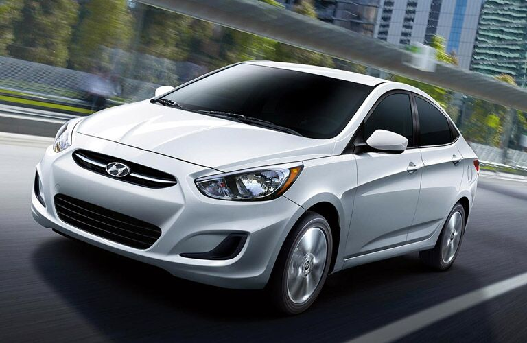 silver hyundai accent in city
