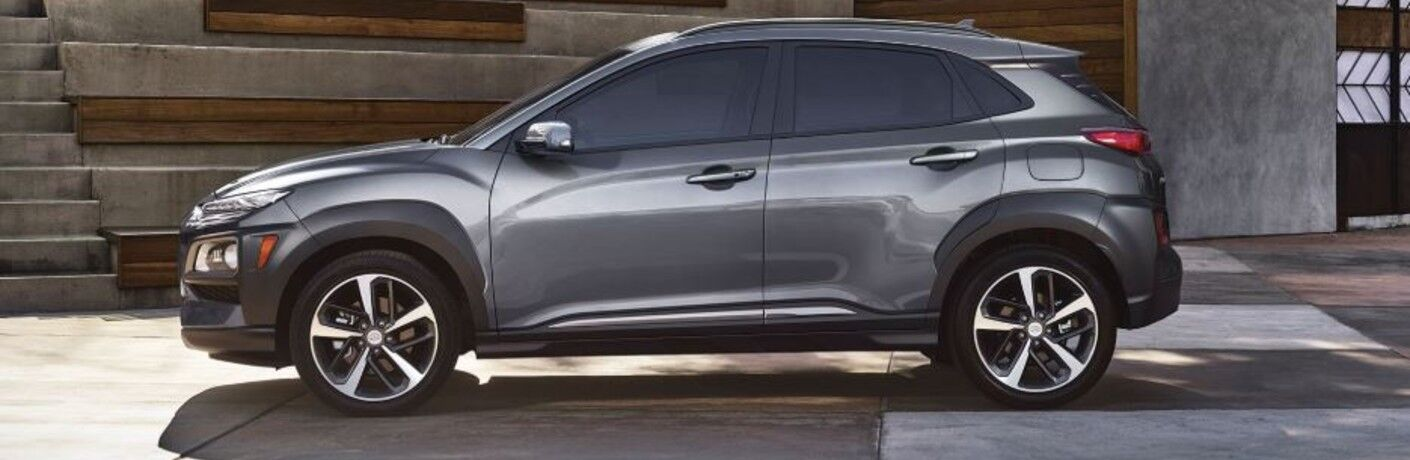 silver hyundai kona side view