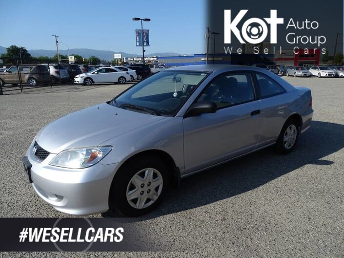 2005 Honda Civic Cpe DX, 2 Door, One Owner, Serviced Regularly Kelowna BC