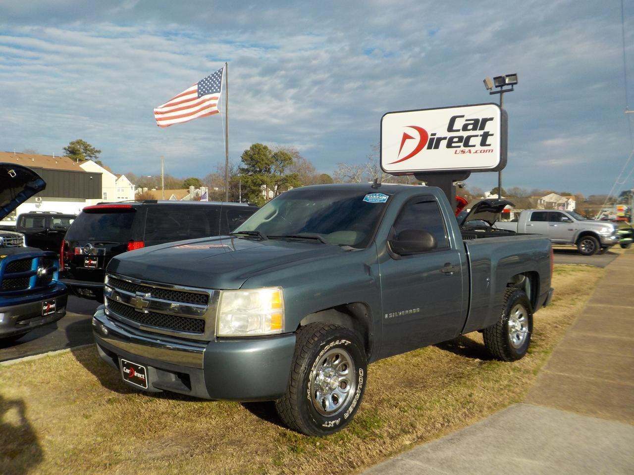 2008 CHEVROLET SILVERADO LS REGULAR CAB WORK TRUCK RWD, WARRANTY, TOW PACKAGE, AUTOMATIC HEADLIGHTS, BED LINER!