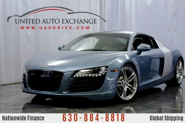 2009 Audi R8 4.2L V8 Engine AWD Quattro w/ Navigation, Bluetooth Connectivity, Front and Rear Parking Aid with Rear View Camera, Oxygen Silver Side Blades, Heated Mirrors Addison IL