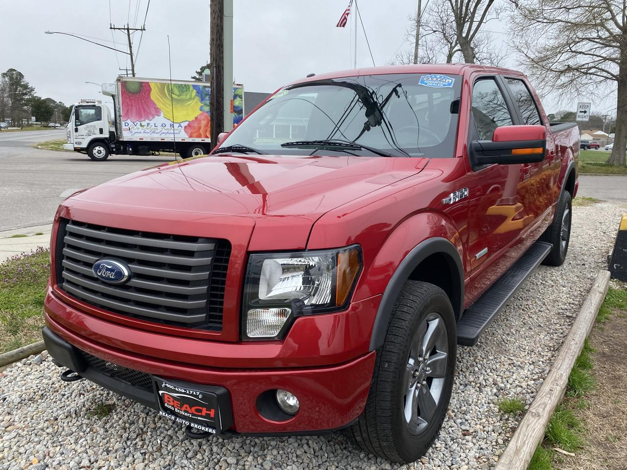 2012 FORD F-150 FX4 SUPERCREW 4X4, WARRANTY, LEATHER, NAV, HEATED/COOLED SEATS, SUNROOF, BLUETOOTH, BACKUP CAM! Norfolk VA