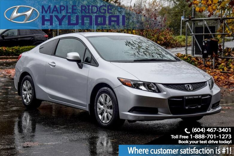 2012 Honda Civic Cpe Coupe, Bluetooth, 5 Speed, Great on gas, Clean Local Maple Ridge BC