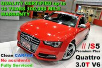 Audi S5 Premium Plus -V6 3.0T S/C QUATTRO - Clean CARFAX - No accidents - Fully Serviced - QUALITY CERTIFIED up to 10 YEARS 100,000 MILE WARRANTY 2013
