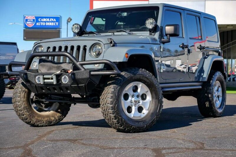 2014 Jeep Wrangler Unlimited Sahara **LIFTED*RARE ANVIL Exterior w/ Matching Hard Top** KC HiLiTES & Leather Heated Front Seats Mooresville NC