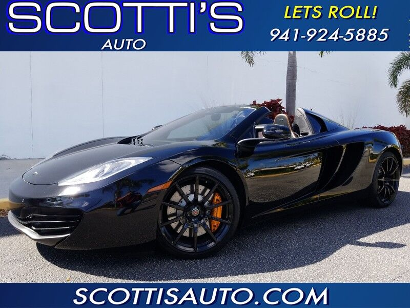 2014 McLaren MP4-12C CONVERTIBLE SPIDER~ CLEAN CARFAX~1-OWNER~ BLK/BLK WITH ORANGE PIPING~ BEAUTIFUL CAR~ FINANCE AND SHIPPING AVAILABLE! Sarasota FL