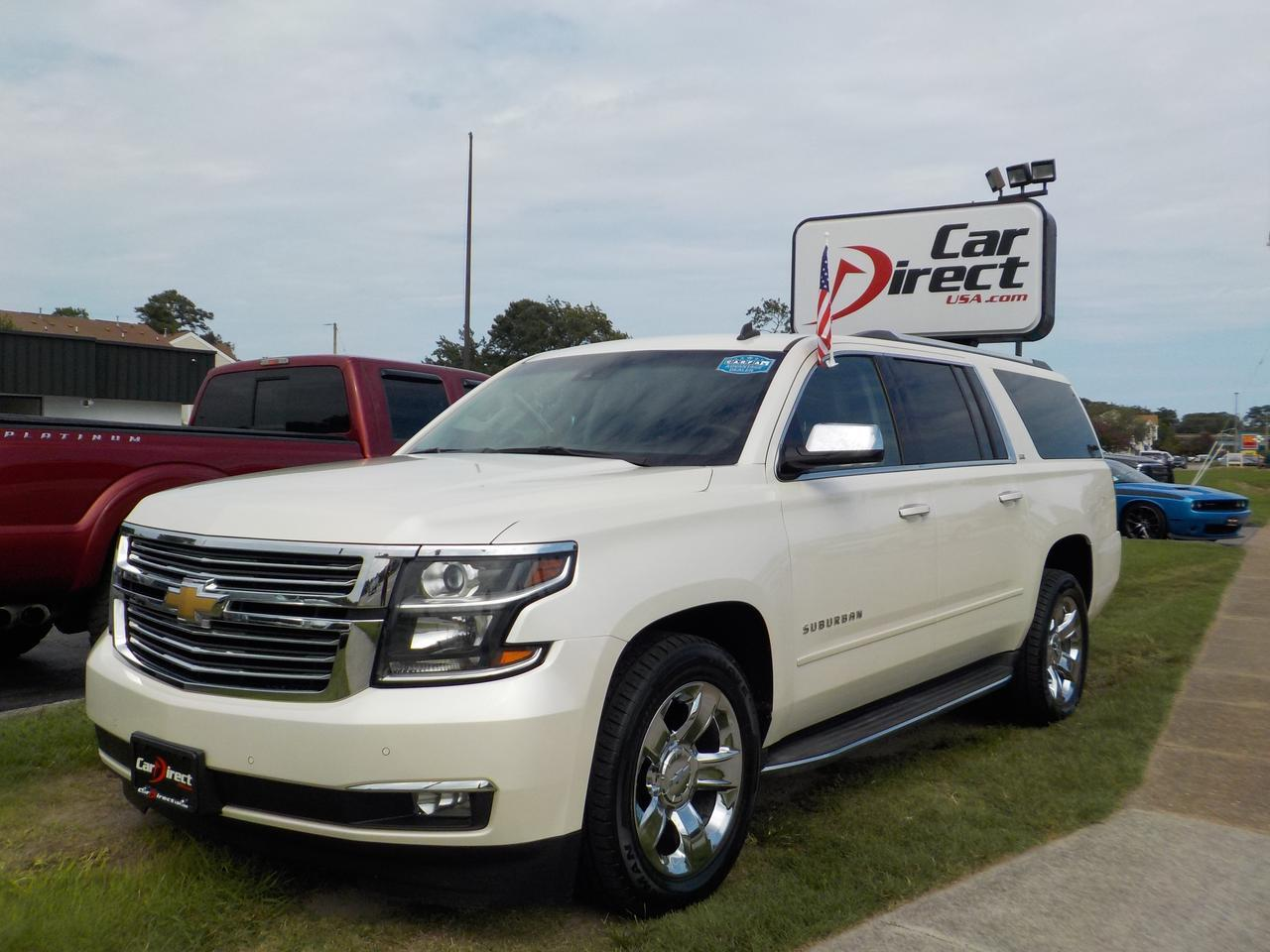 2015 CHEVROLET SUBURBAN LTZ 4X4, LEATHER, SUNROOF, REMOTE START, DVD PLAYER, HEATED/COOLED SEATS, BLUETOOTH, CLEAN CARFAX! Virginia Beach VA