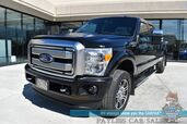 2015 Ford Super Duty F-250 Platinum / 4X4 / Long Bed / 6.2L V8 / Crew Cab / Auto Start / Heated Leather Seats & Steering Wheel / Sunroof / Navigation / Sony Speakers / Light Bars / Bed Liner / Tow Pkg / Only 42k Miles / 1-Owner